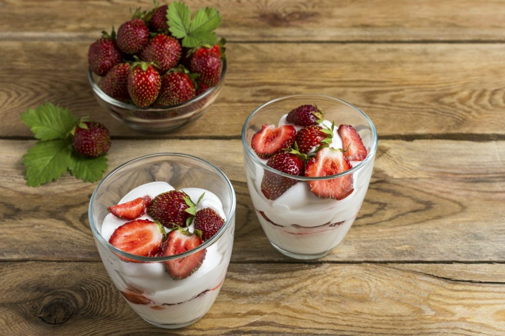 Fresh layered strawberries cream cheese dessert